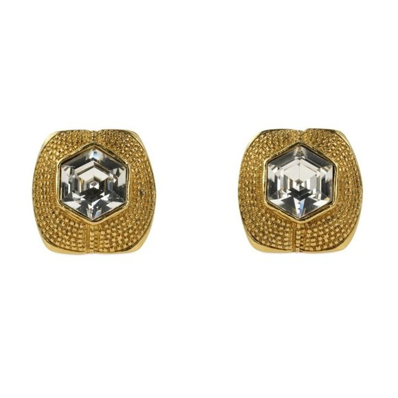 Chanel Jewelry - Chanel Gold Vintage Crystal Clip On Earrings